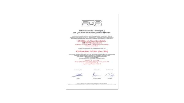 Zertifizierung des Qualitätmanagementssystems nach ISO 9001.