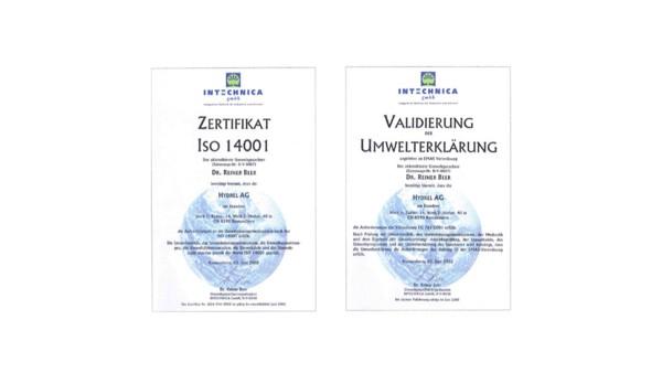 Zertifizierung des Umweltmanagements nach ISO 14001 und EMAS-Verordnung.