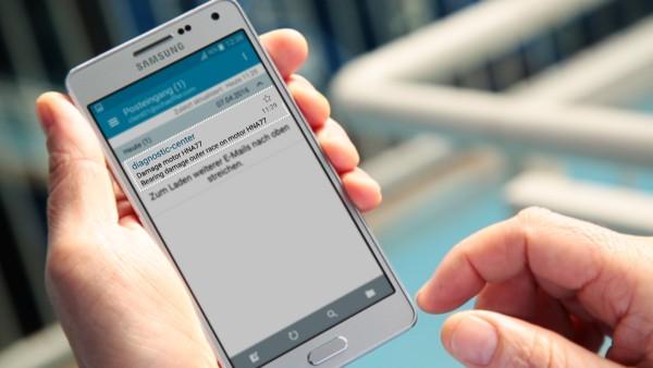 """Anlagenbetreiber erhalten mit dem digitalen Service """"ConditionAnaylzer"""" Benachrichtigungen per E-Mail und können diese einfach auf ihrem mobilen Endgerät einsehen."""